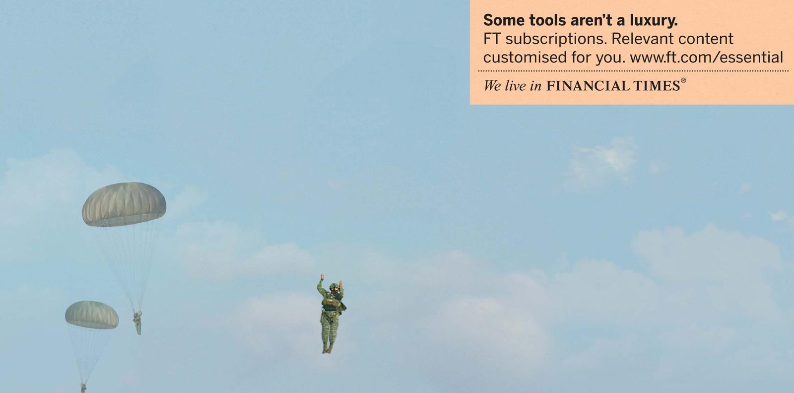 Financial Times Print Ad -  Essential, Paratrouper