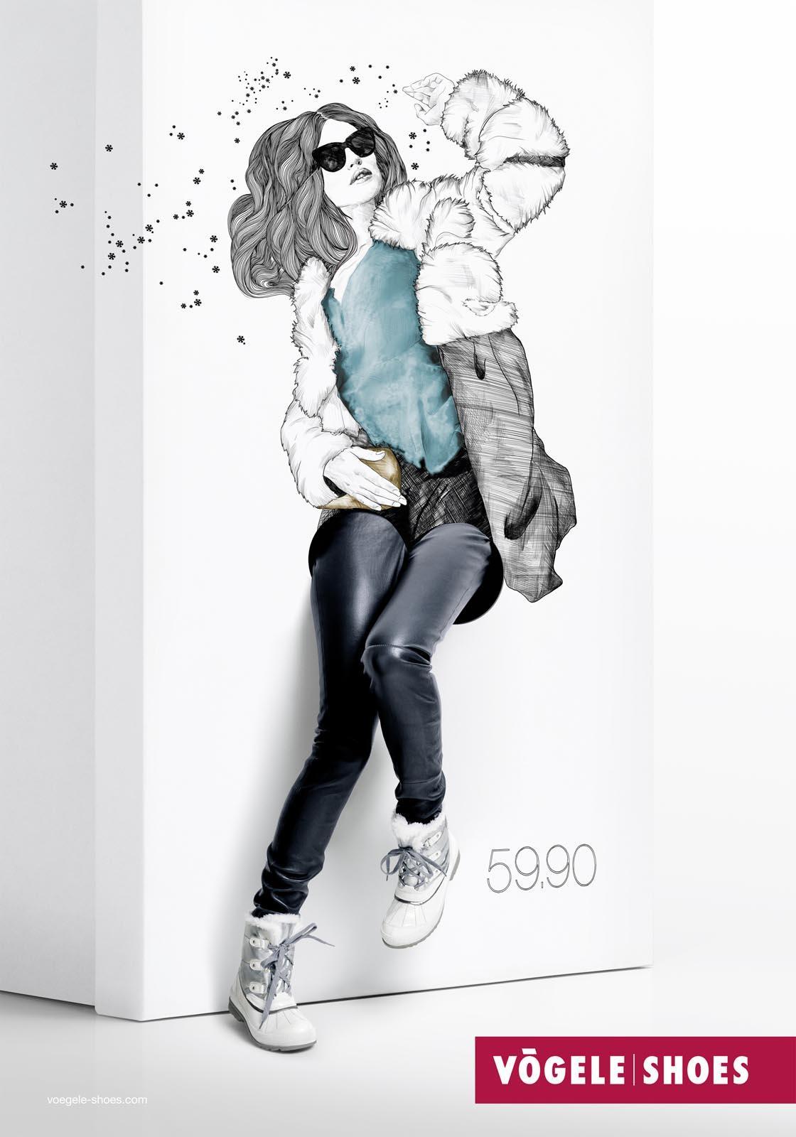 Vögele Print Ad -  Box Models, Fur