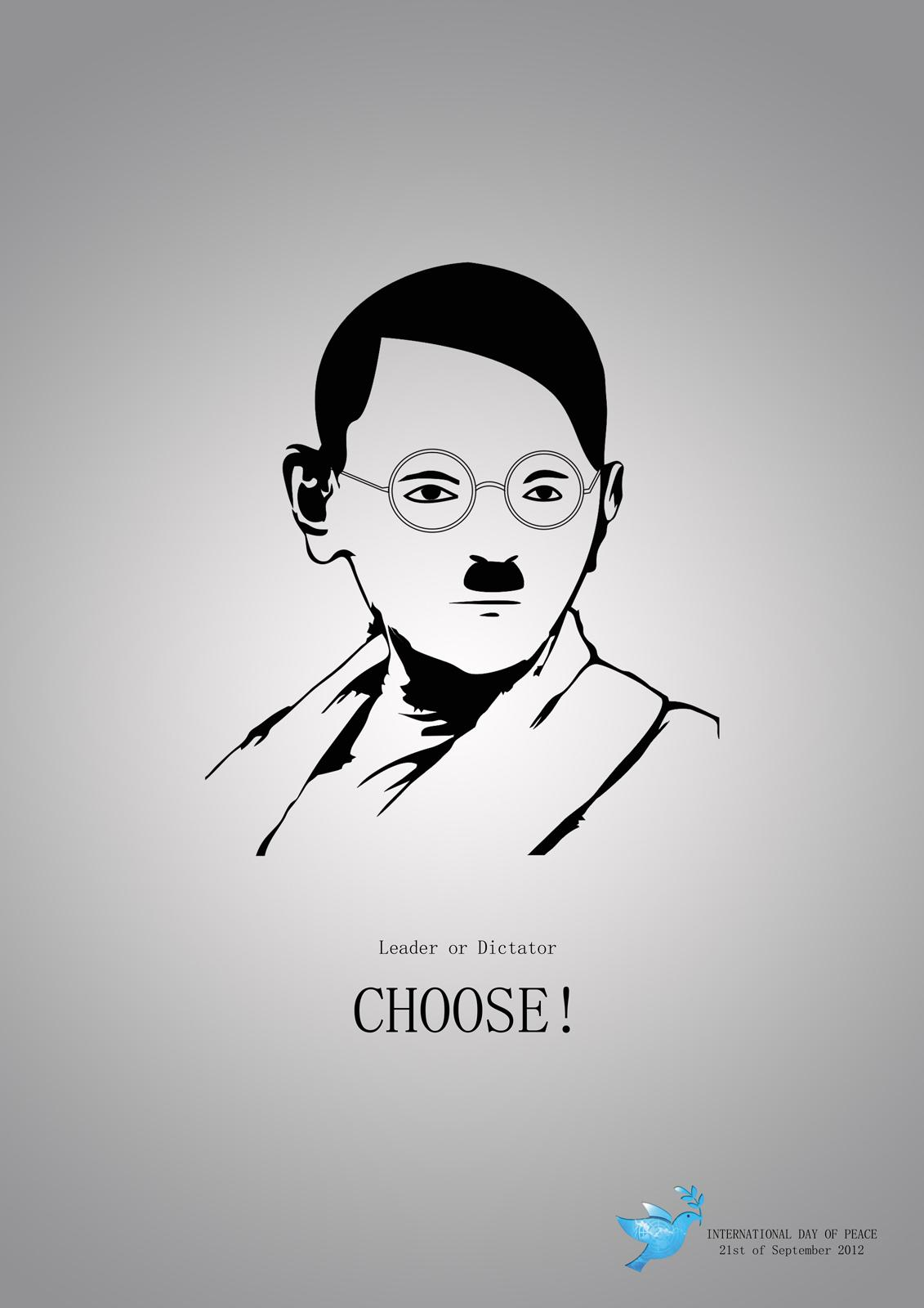 World Peace Day Print Ad -  Gandhi / Hitler