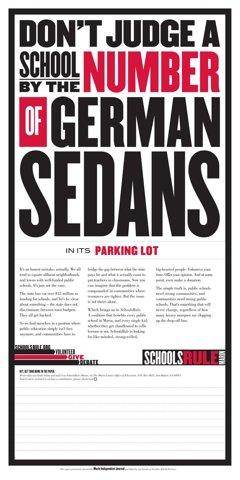 Marin County Public Schools Print Ad -  Sedans