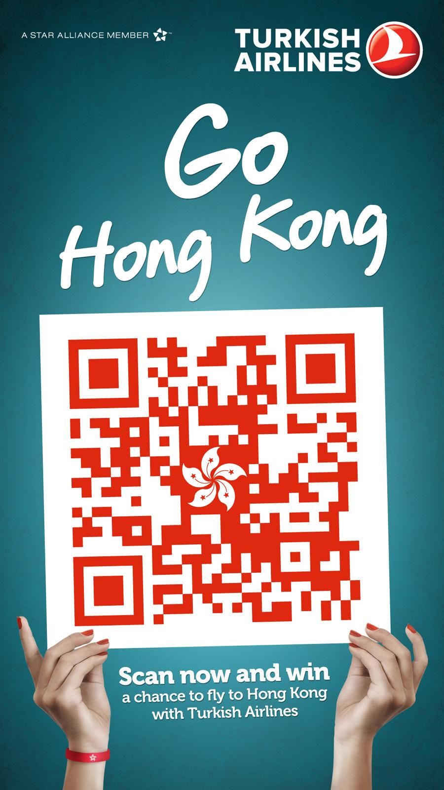 Turkish Airlines Outdoor Ad -  QR Flags, Hong Kong