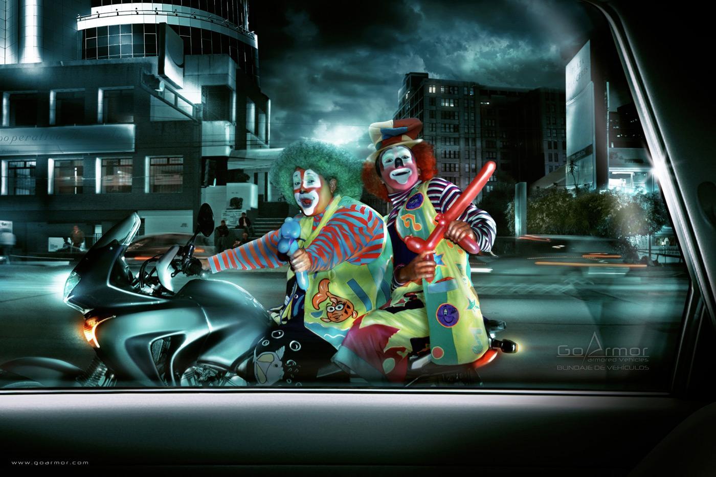 Go Armor Print Ad -  Clowns