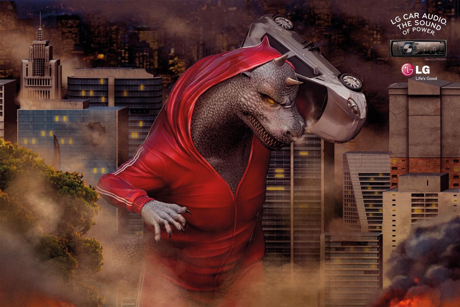 LG Print Ad -  Boombox, Godzilla