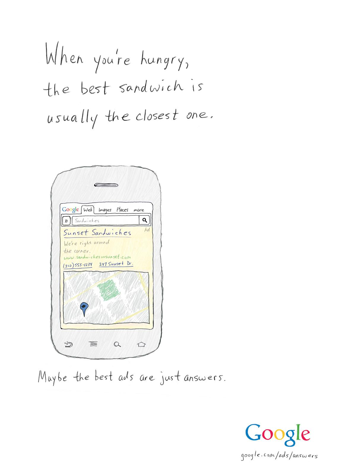 Google Print Ad -  The Best Sandwich is the Closest One