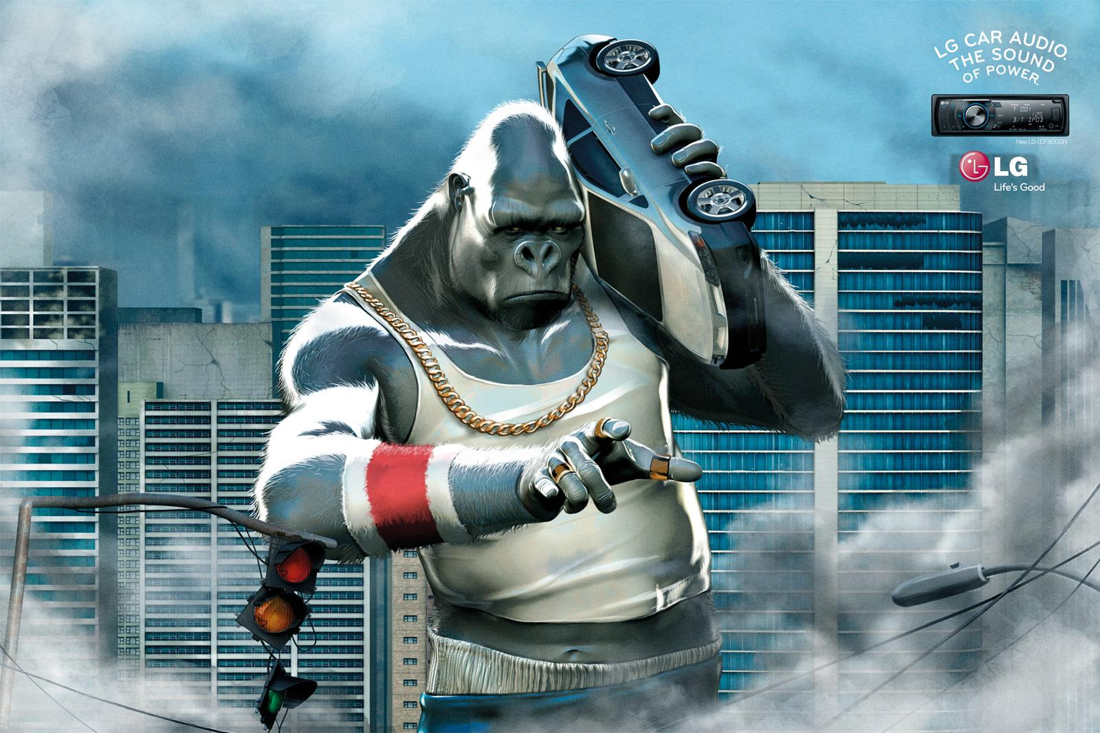 LG Print Ad -  Boombox, Gorilla