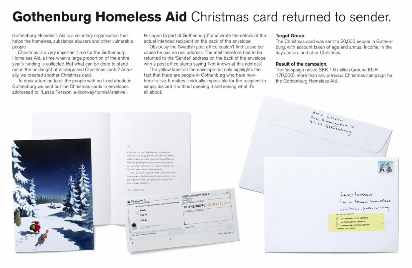 Gothenburg Homeless Aid Direct Ad -  Returned