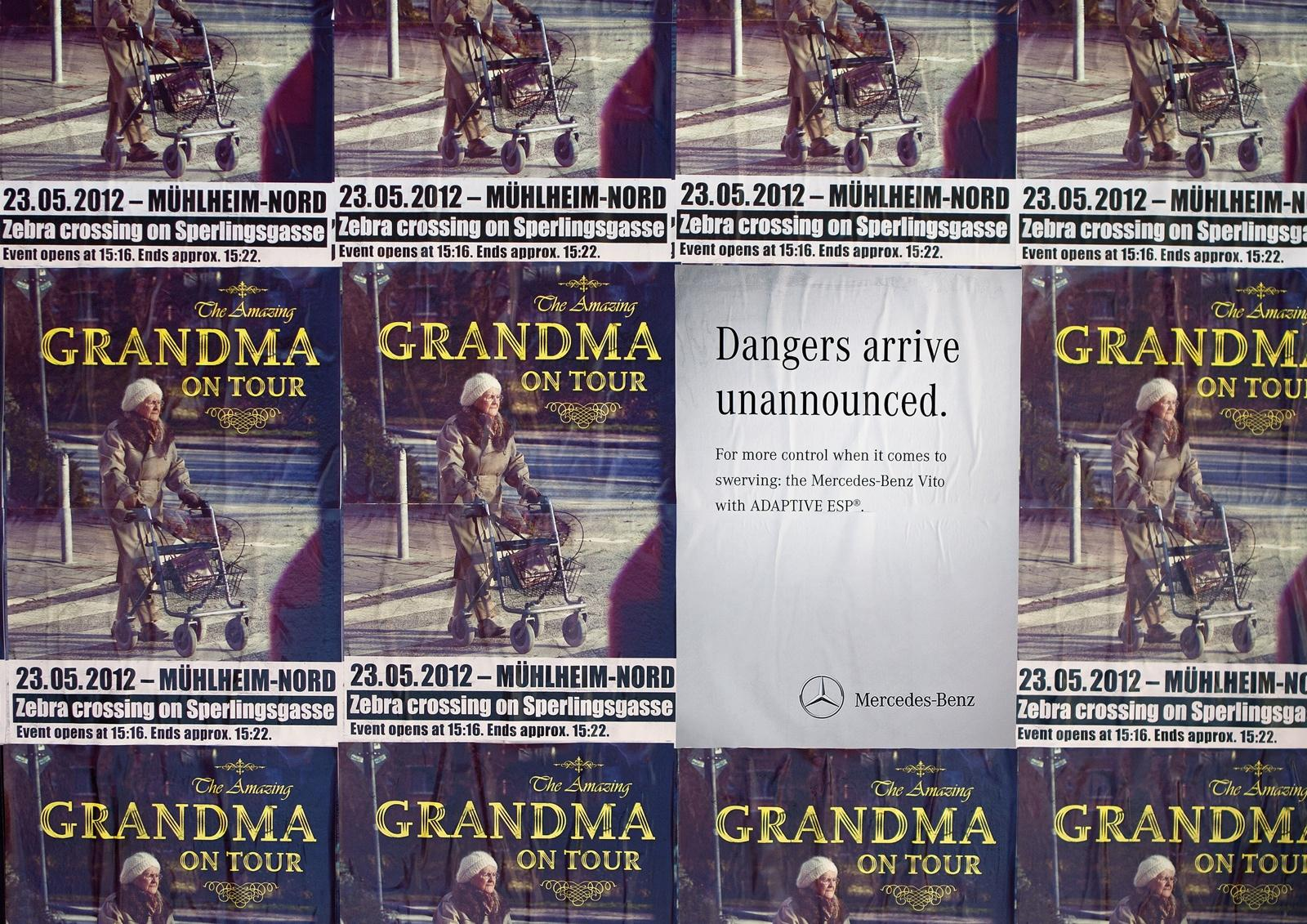 Mercedes Outdoor Ad -  Danger Doesn't Announce Itself, Grandma