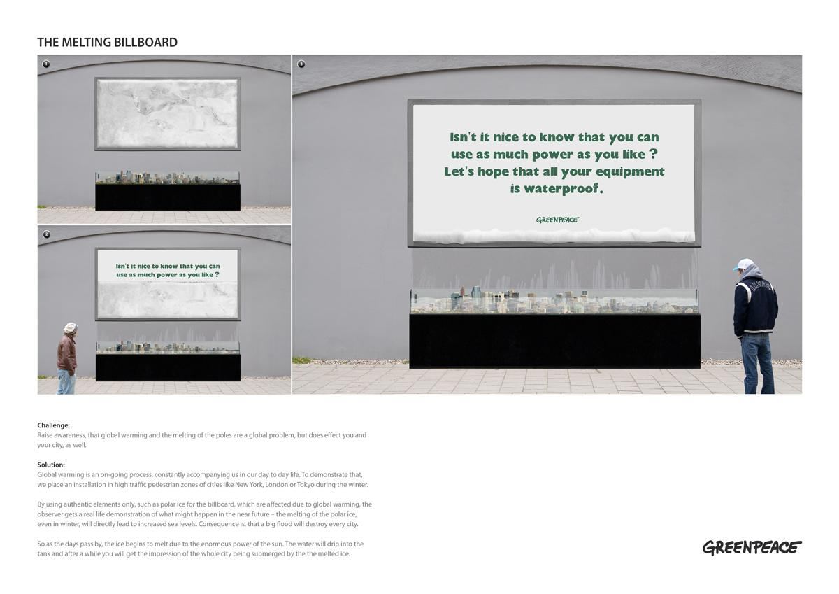 Greenpeace Ambient Ad -  The melting billboard