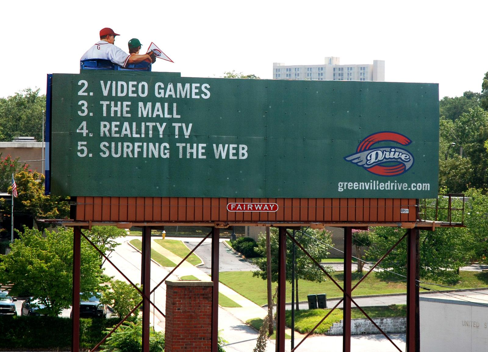 Greenville Drive Outdoor Ad -  Top of The List