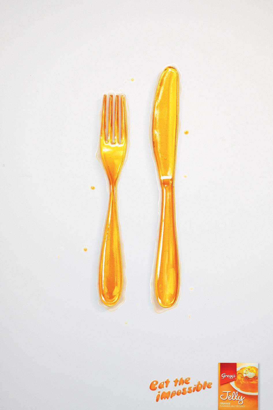 Gregg's Jelly Print Ad -  Eat the impossible, Knife & Fork