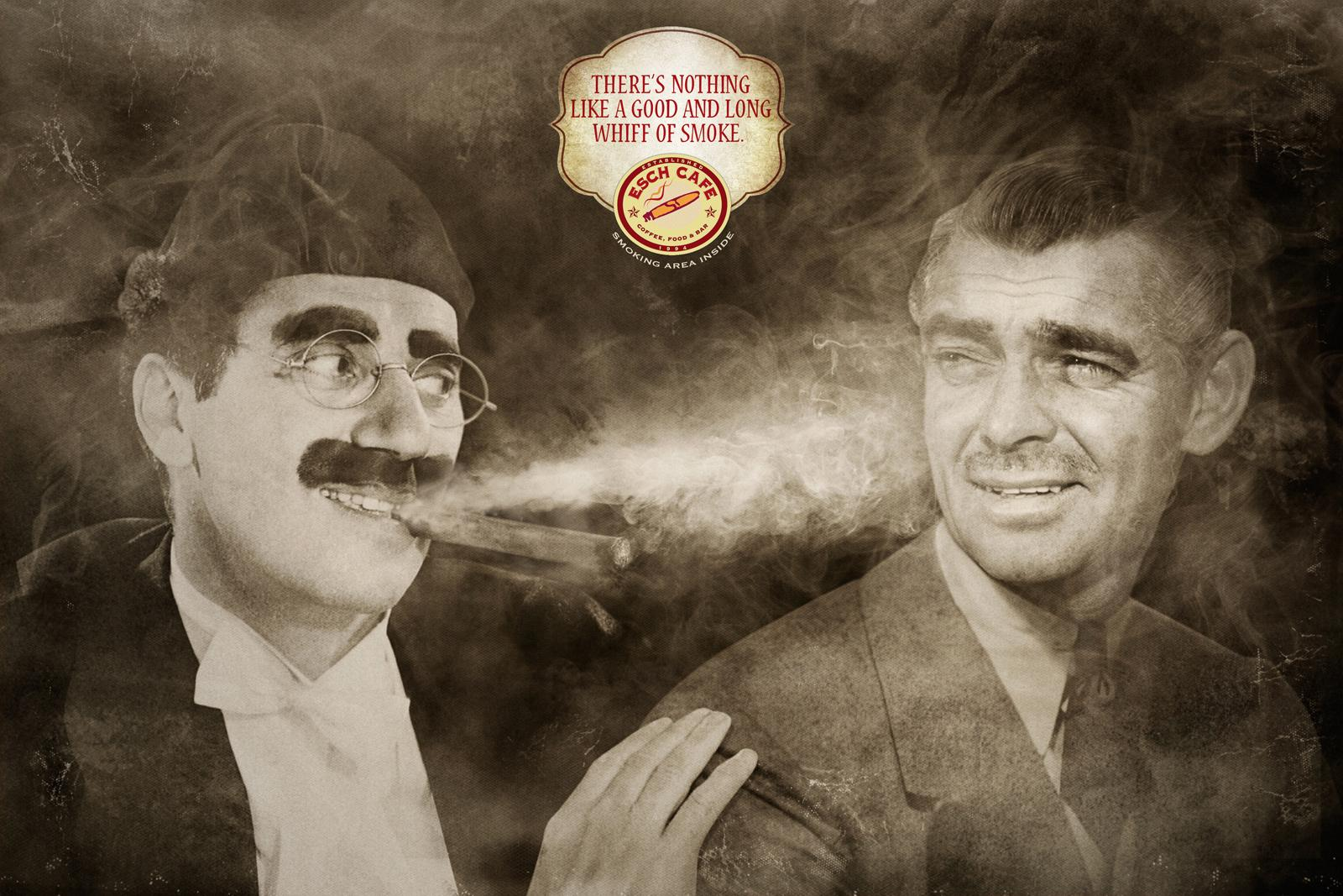 Esch cafe Print Ad -  Groucho vs Clark