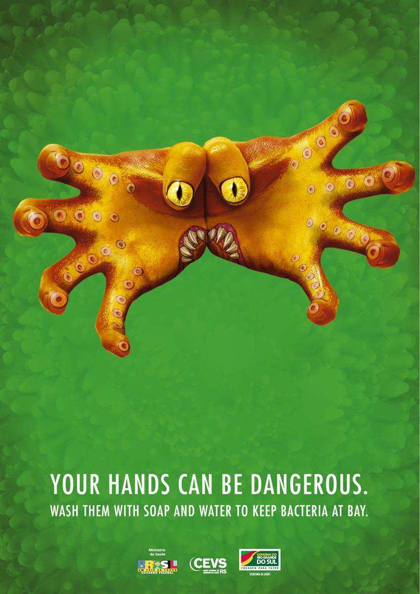 Secretaria Estadual Da Saúde Print Ad -  Monster Hands, 4