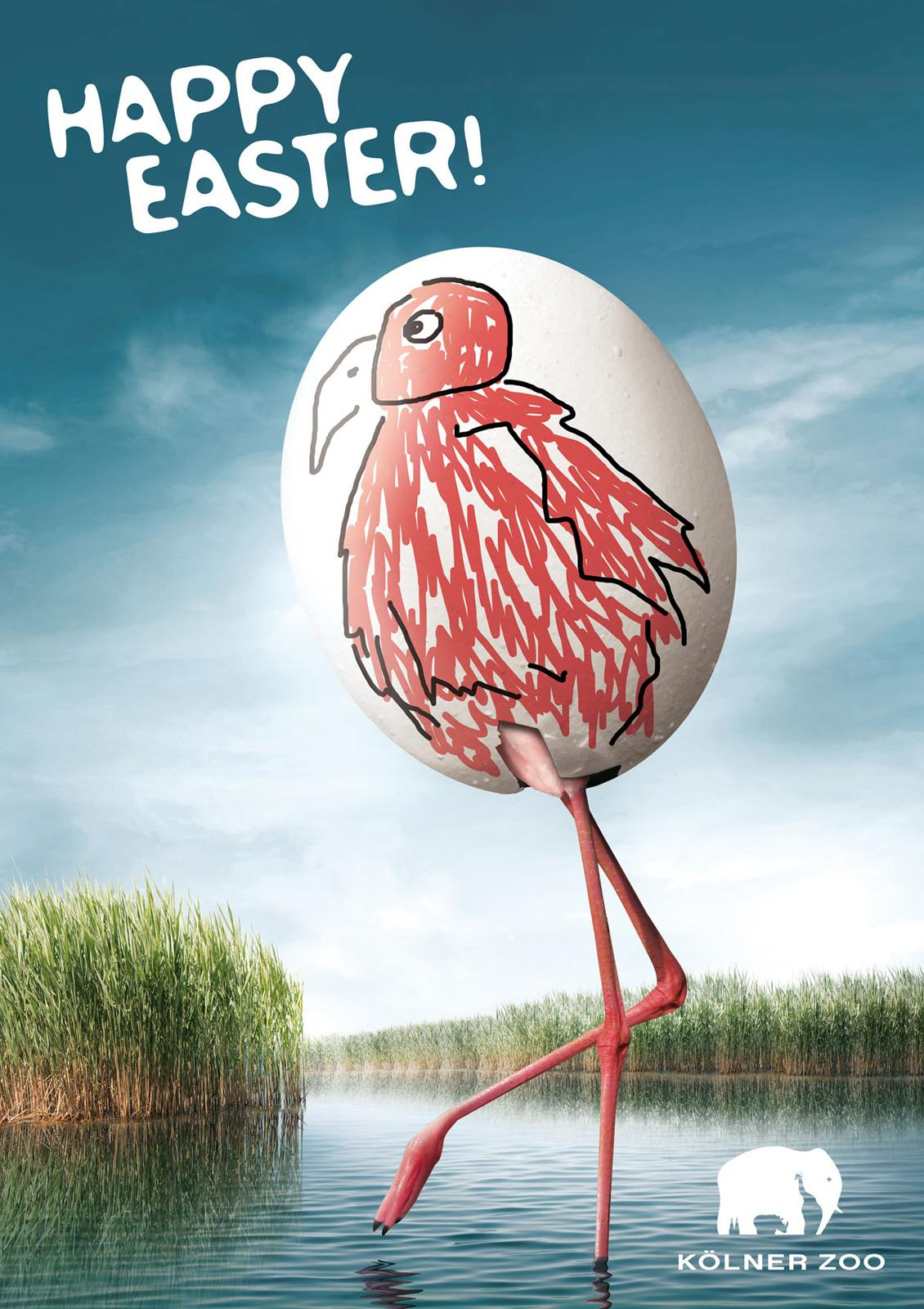 Kölner Zoo Print Ad -  Happy Easter Eggs, Flamingo