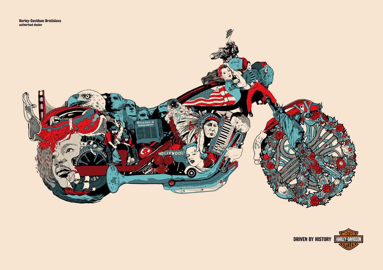Harley-Davidson Print Ad -  Driven by history