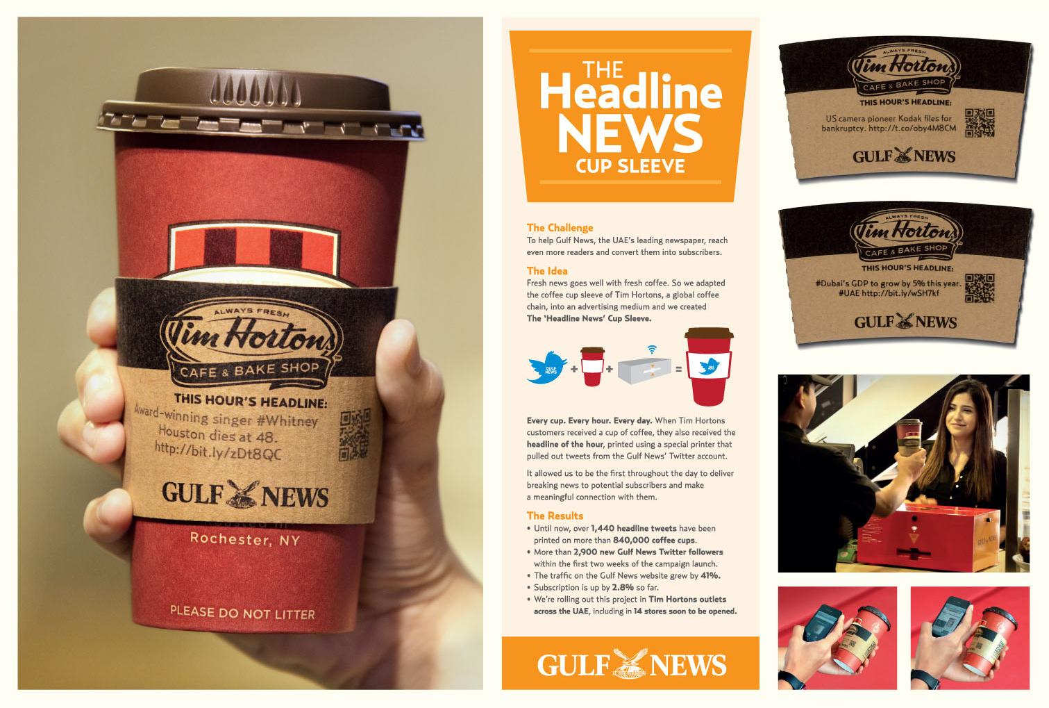 "Gulf News Direct Ad -  The ""Headline News"" Cup Sleeve"