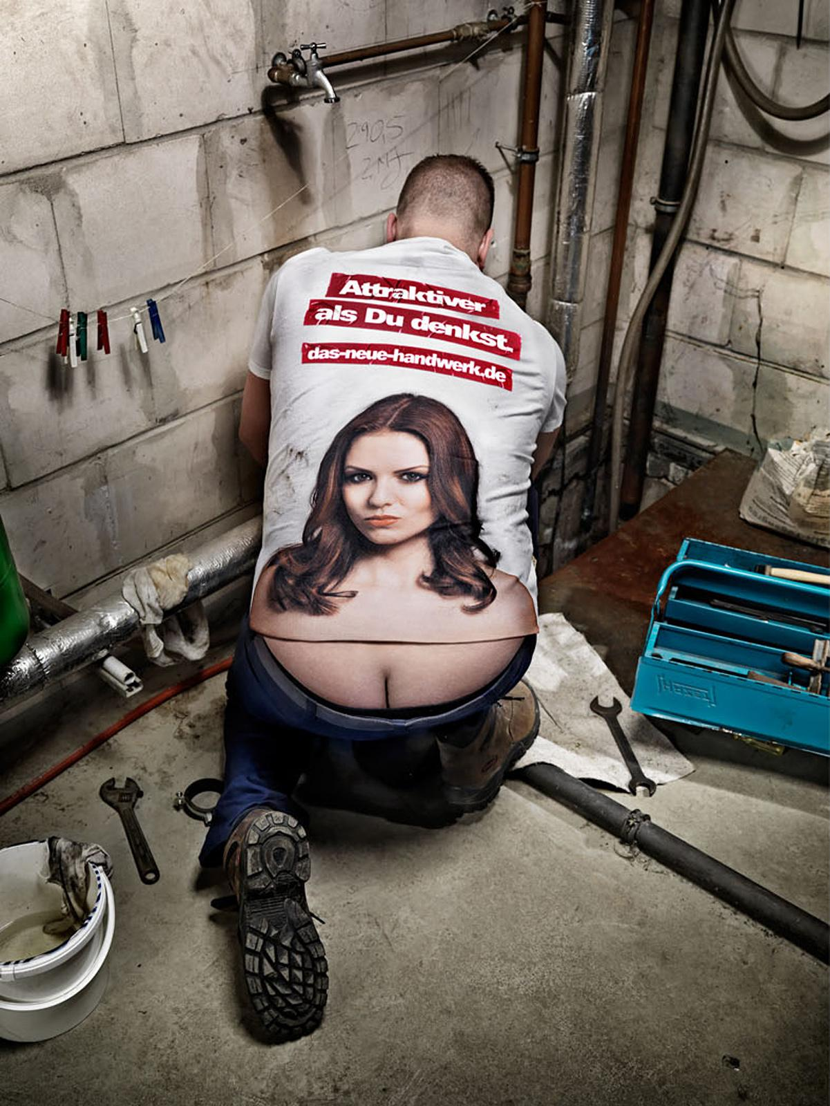 The German Crafts Print Ad -  The Craftsmen's Boobs, Heating repairman