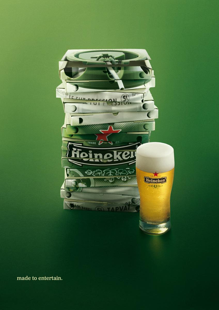 Heineken Print Ad -  Pizzas