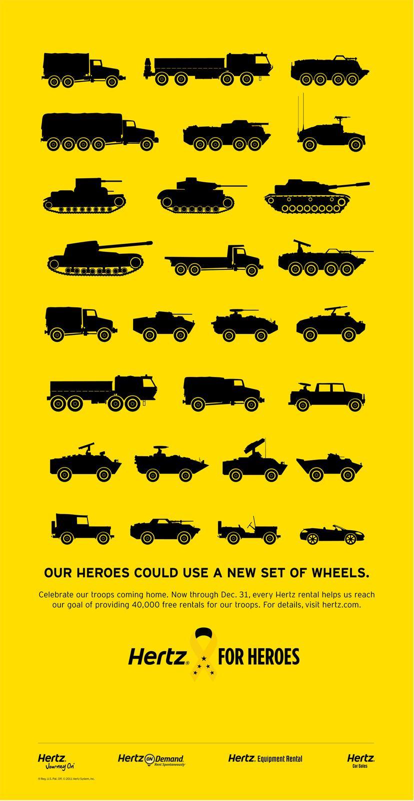 Hertz Print Ad -  Hertz for Heroes