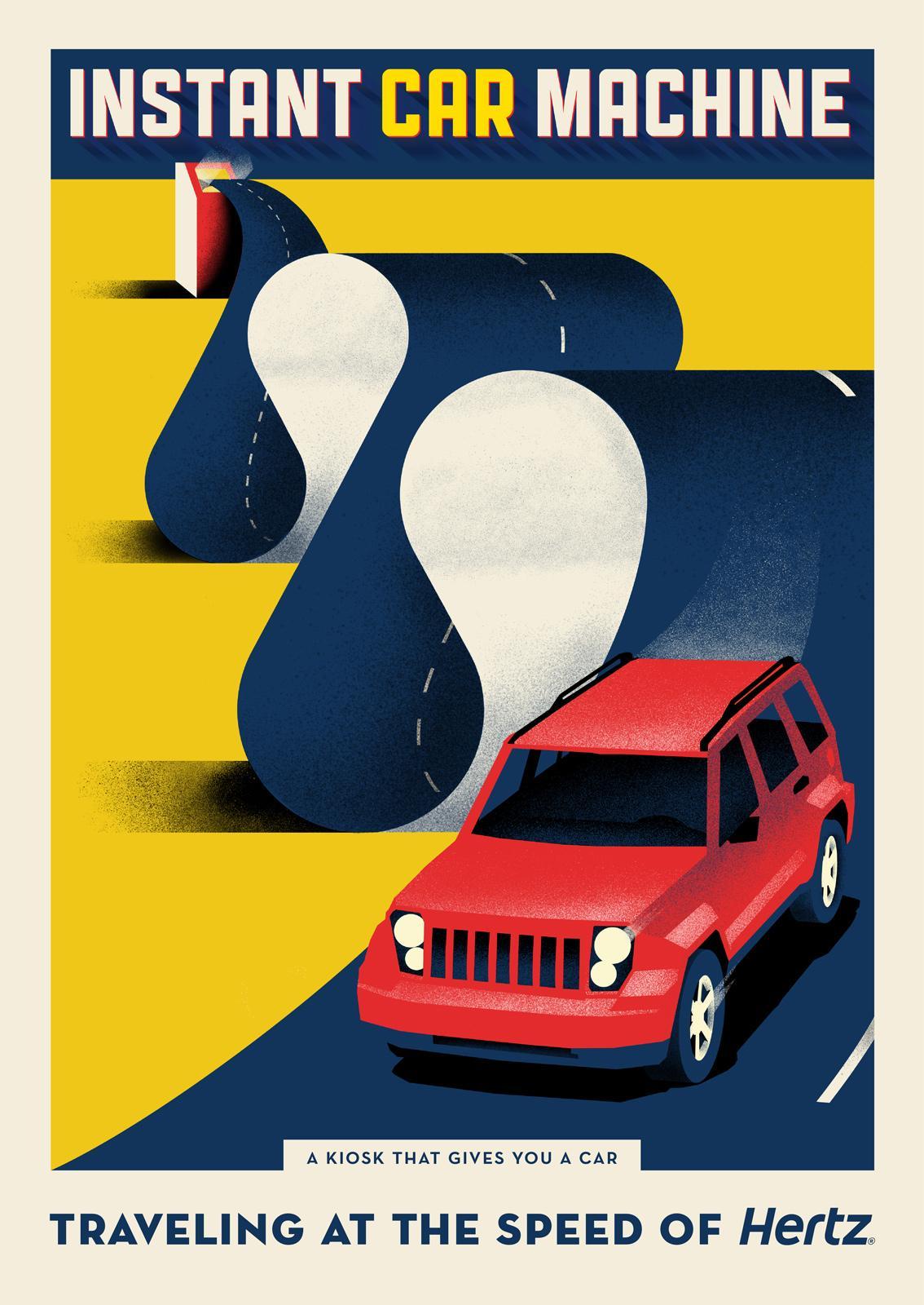 Hertz Print Ad -  Instant car machine