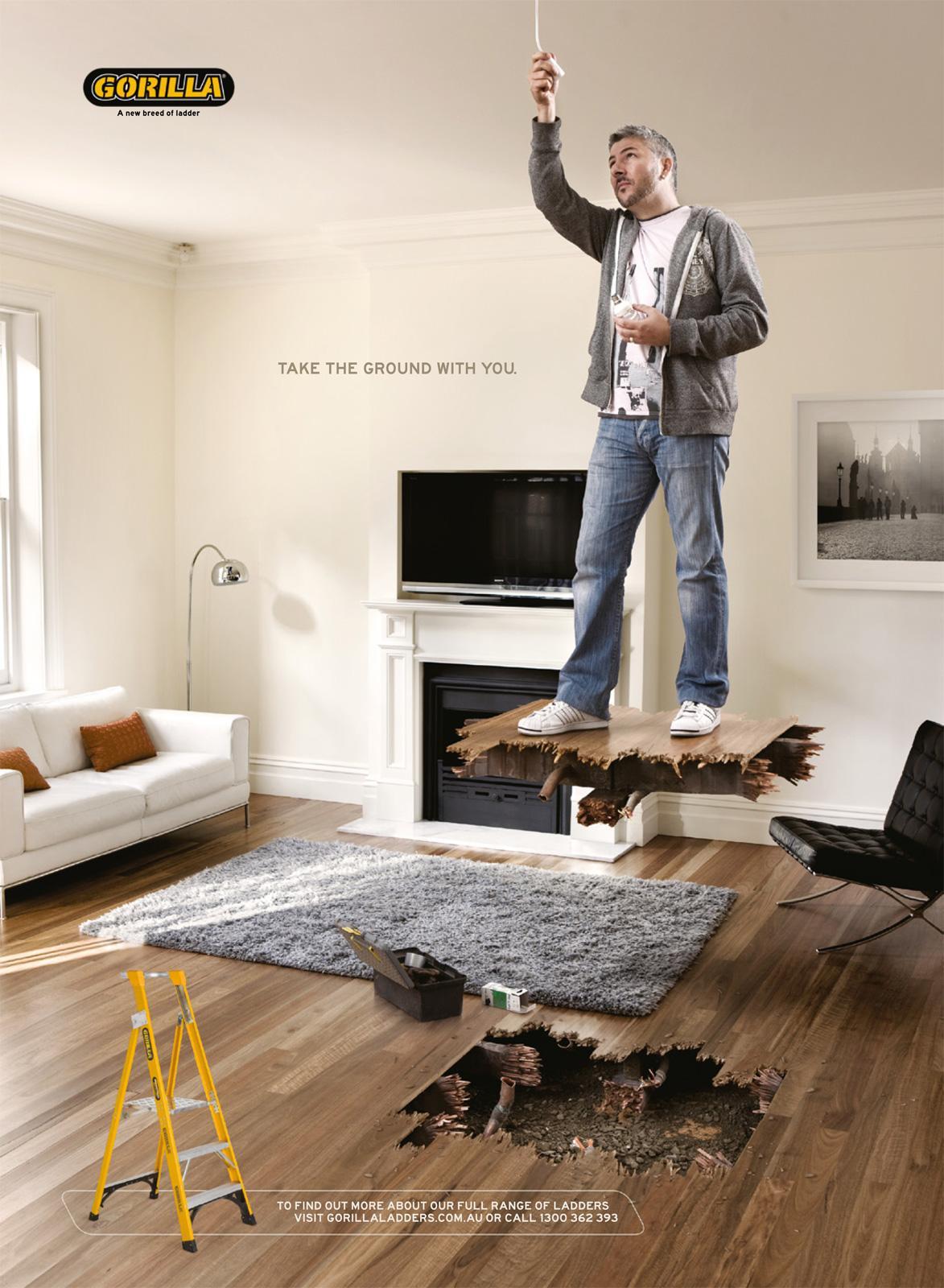Gorilla Ladders Print Ad -  Indoors