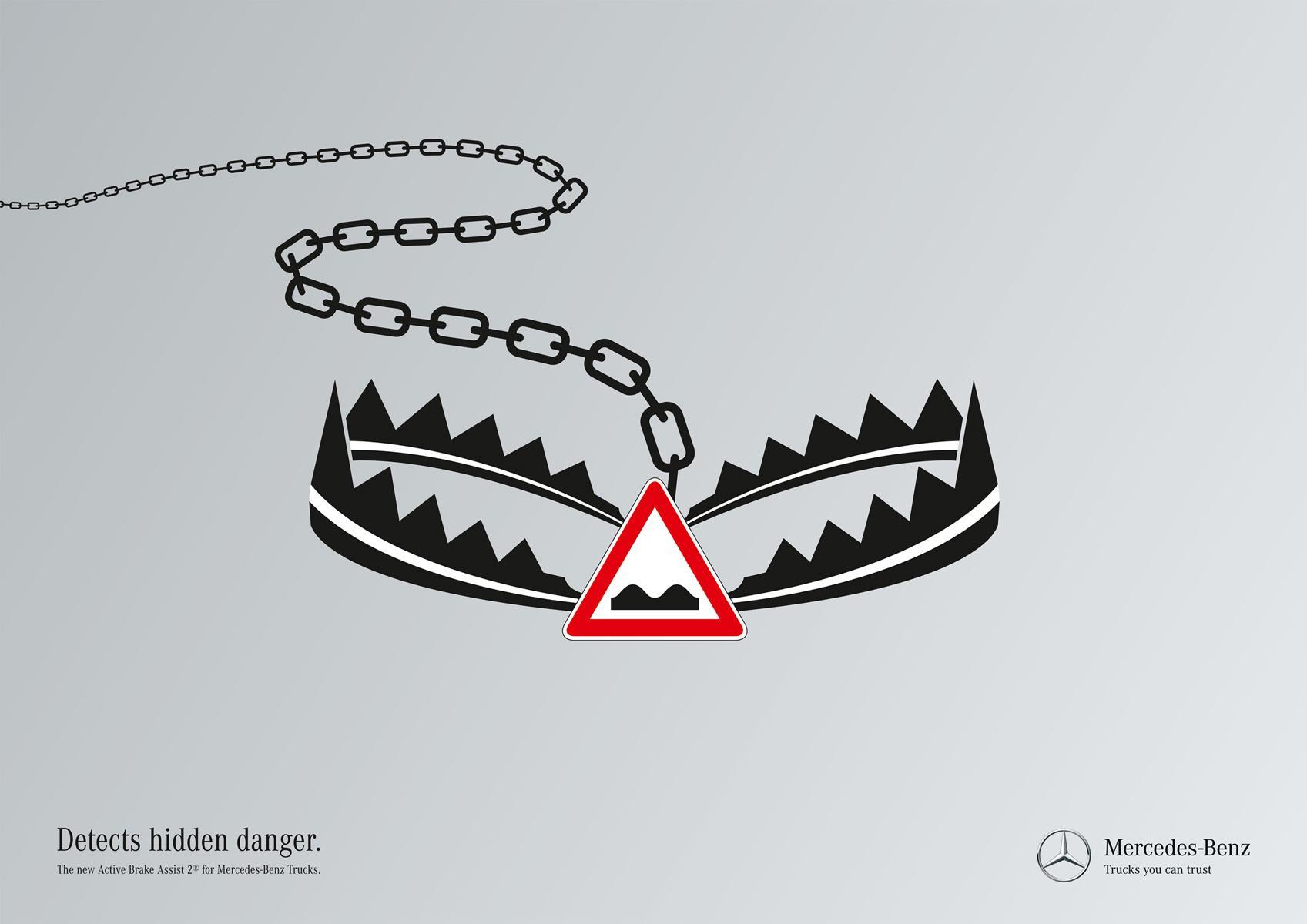 Mercedes Print Ad -  Hidden dangers, Trap
