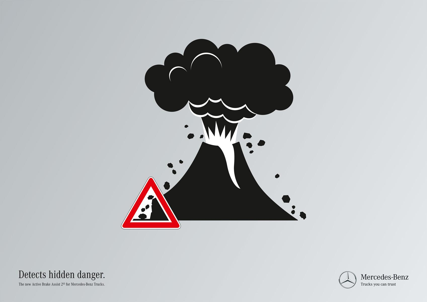 Mercedes Print Ad -  Hidden dangers, Volcano