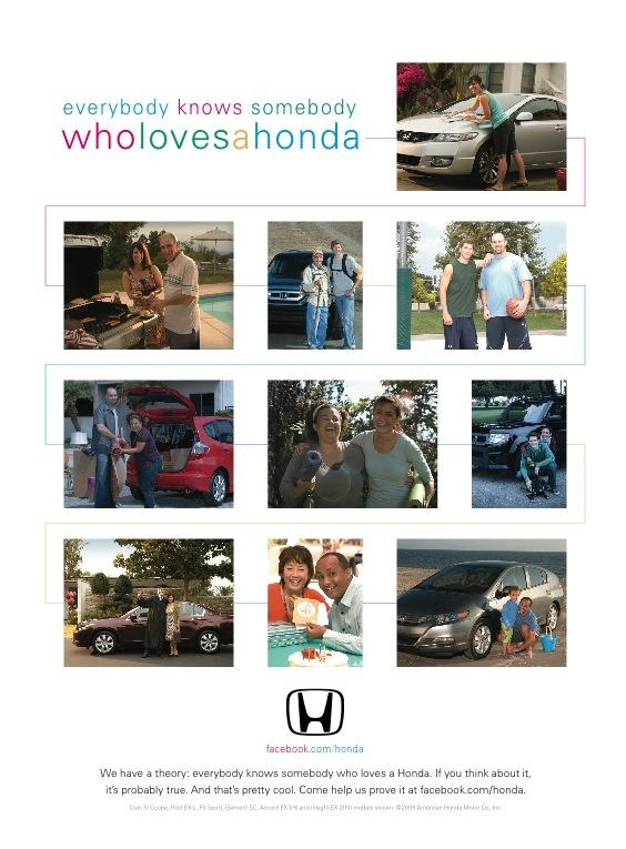 Honda Print Ad -  Everybody knows somebody who loves a Honda