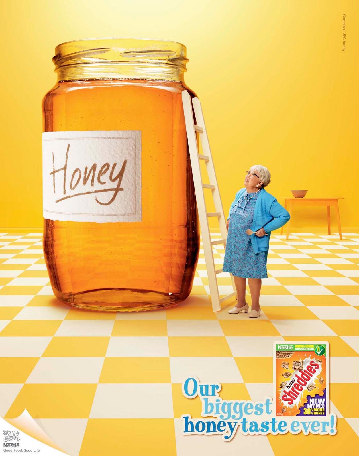 Honey Shreddies Print Ad -  Our biggest honey taste ever, Jar