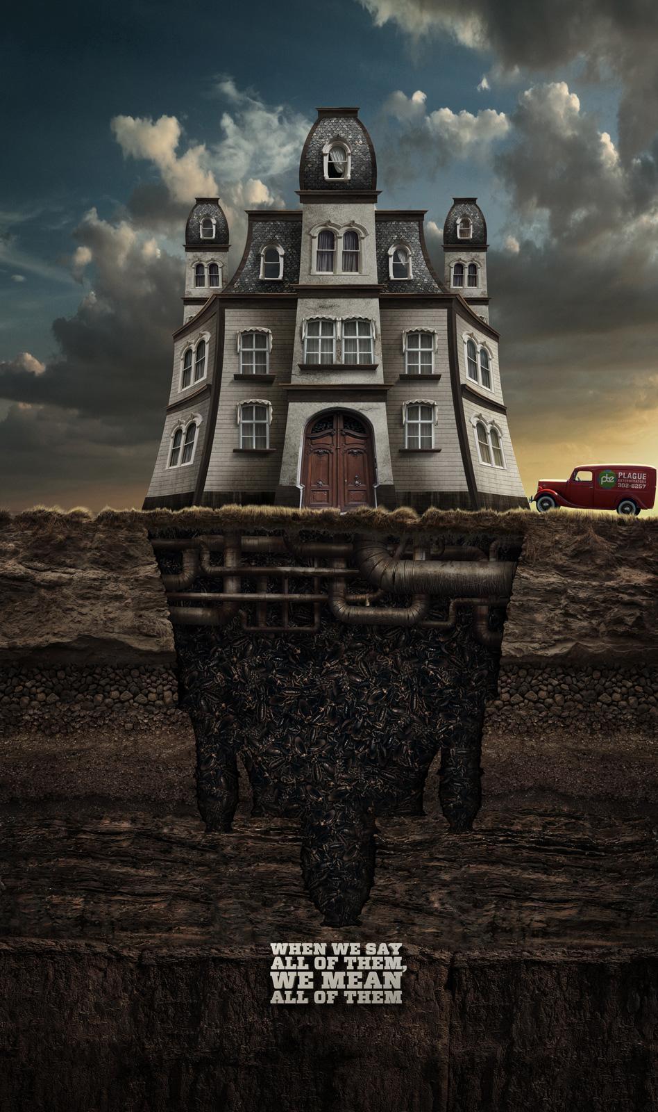 PTE Plague Exterminator Print Ad -  Plagued House
