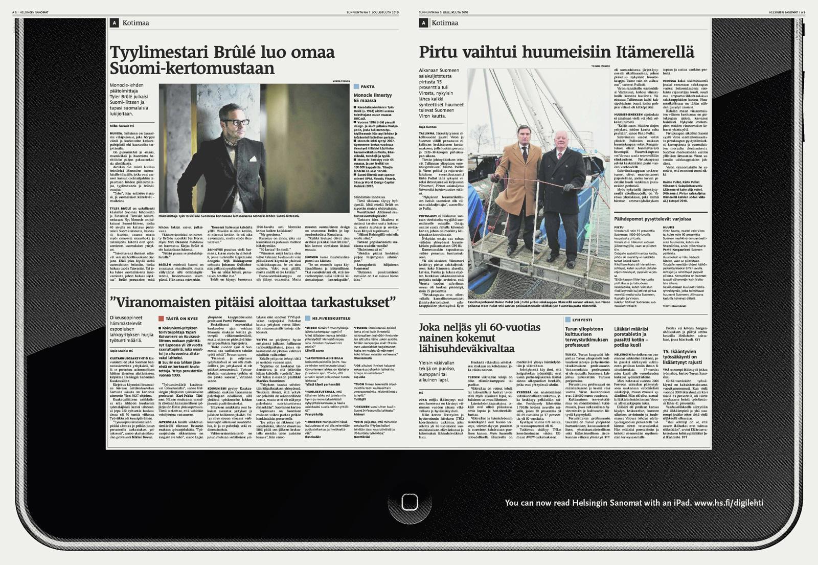 Helsingin Sanomat Print Ad -  Offline iPad