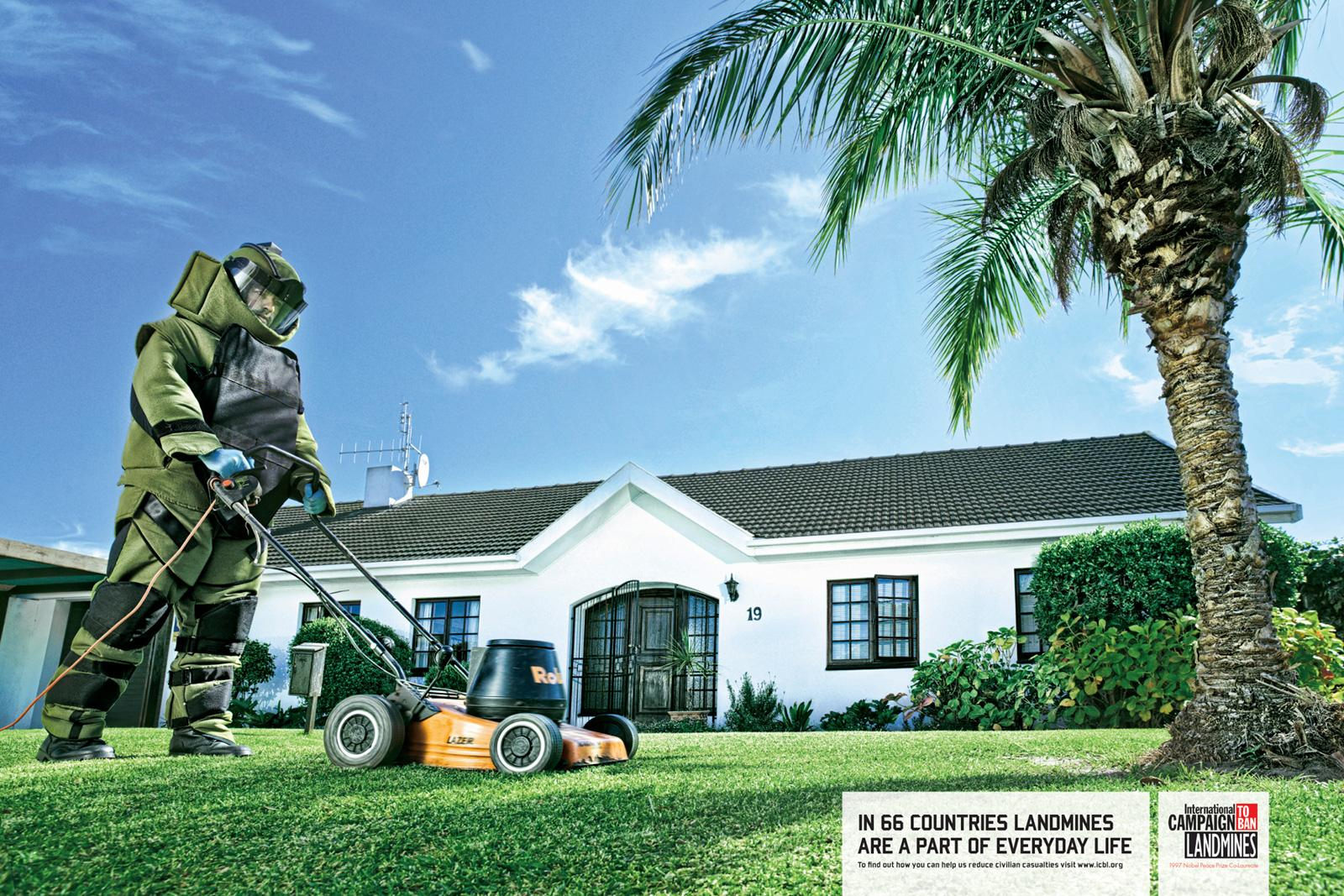 International Campaign to Ban Landmines Print Ad -  Daily Chores, Lawnmower