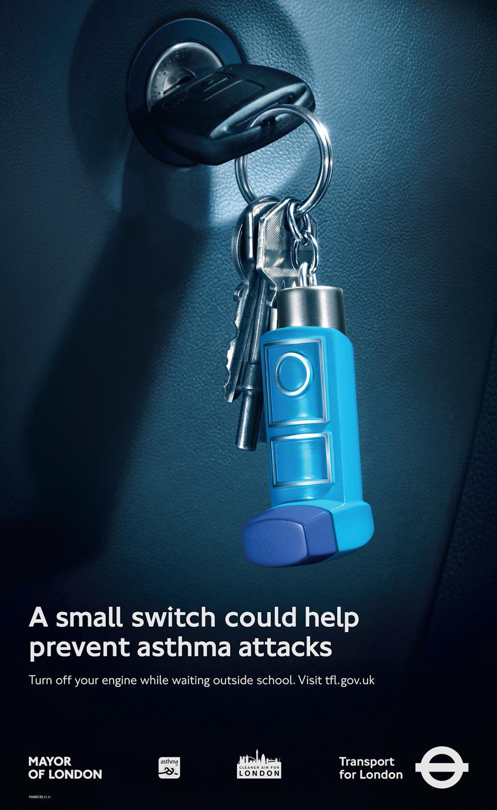 Transport for London Print Ad -  No Idling, Inhaler