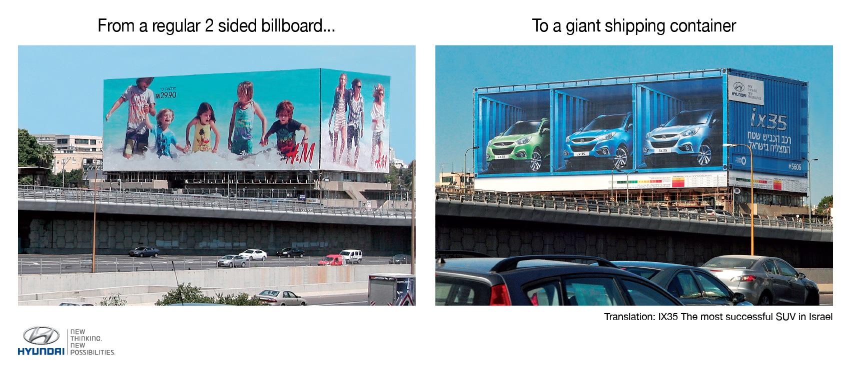 Hyundai Outdoor Ad -  3D Shipping Container Billboard