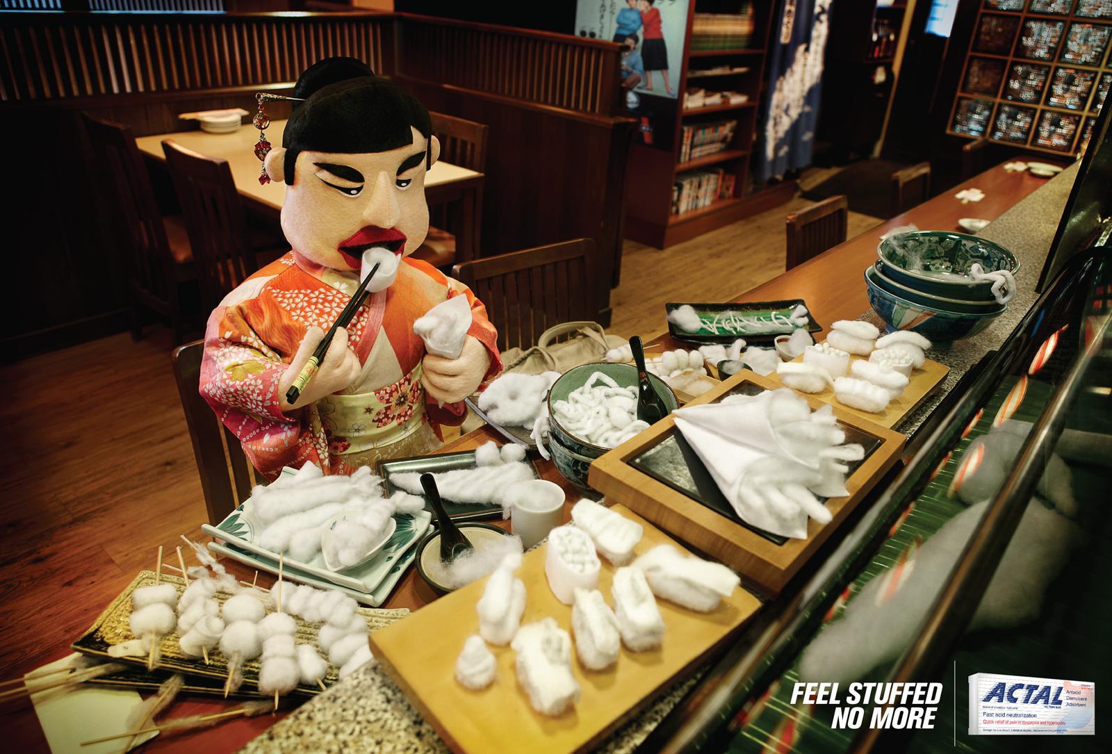 Actal Print Ad -  Stuffed, Japanese Food