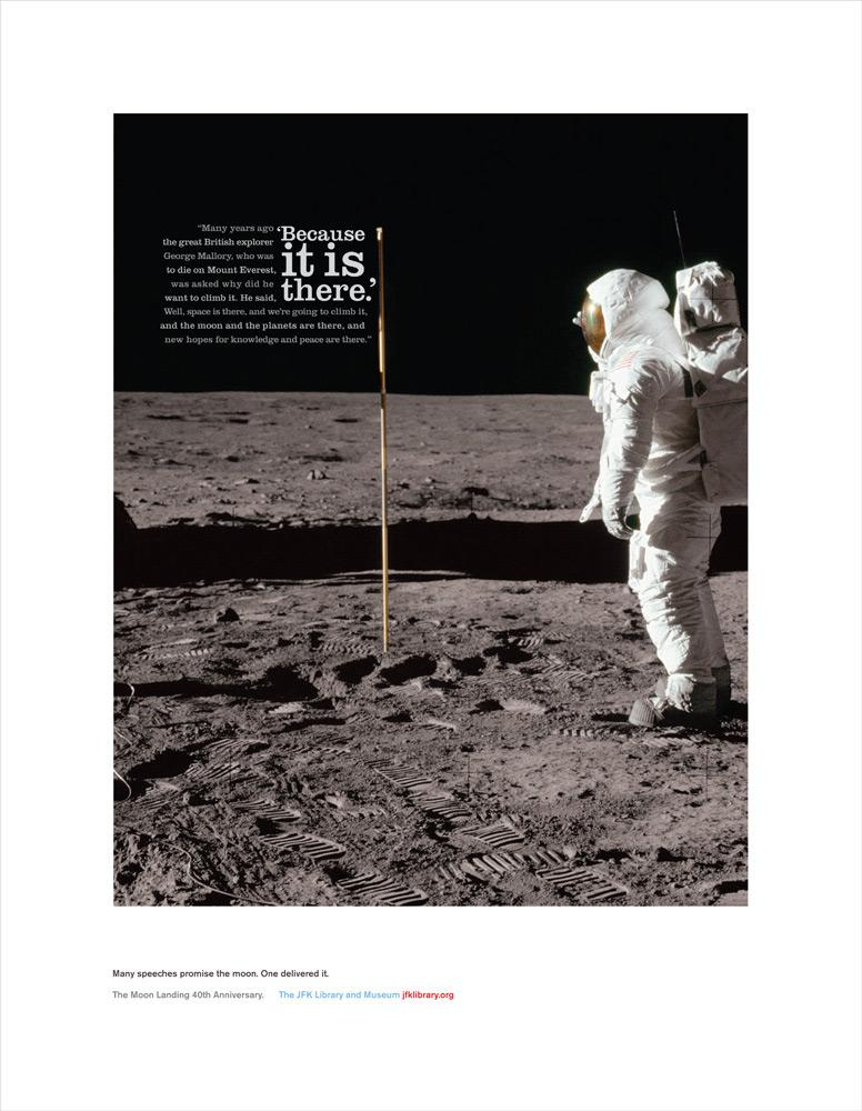 The JFK Presidential Library and Museum Print Ad -  Moon landing, 1