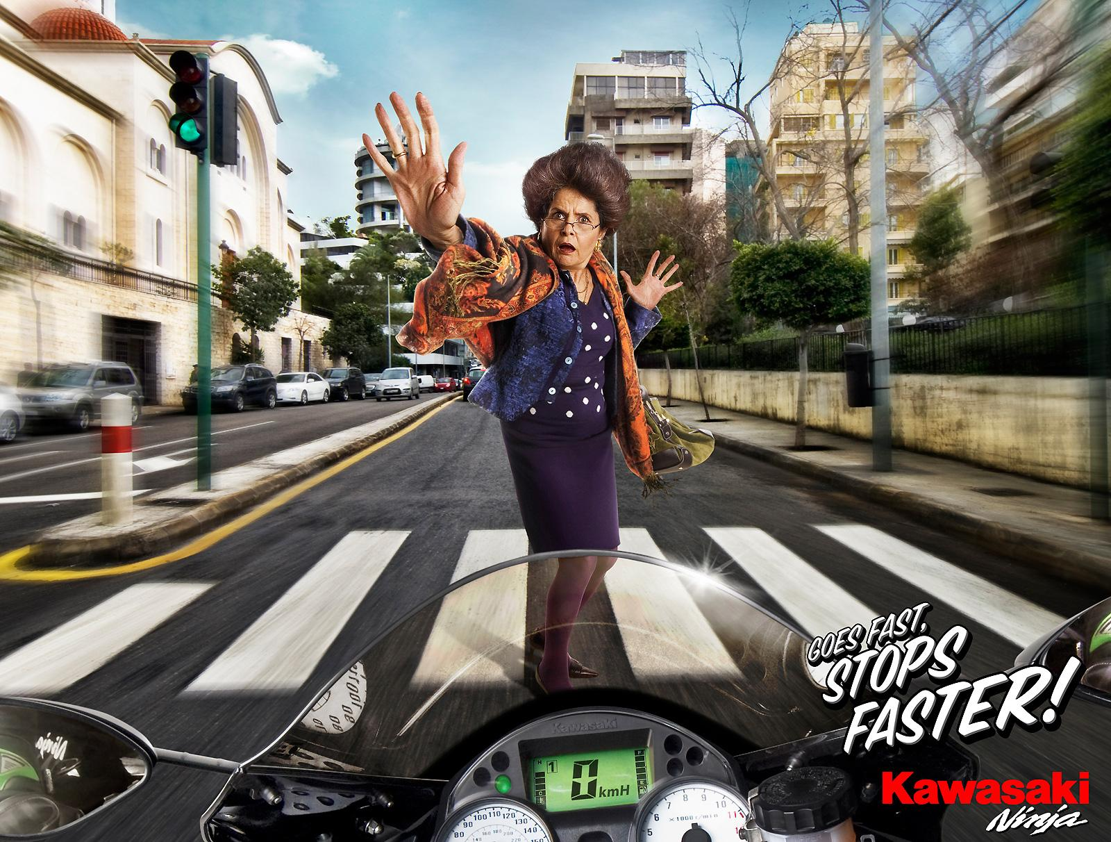 Kawasaki Print Ad -  Grandma