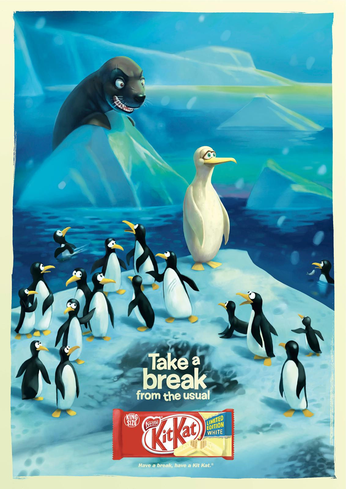 Kit Kat Outdoor Ad -  Take a break from the usual, Penguin