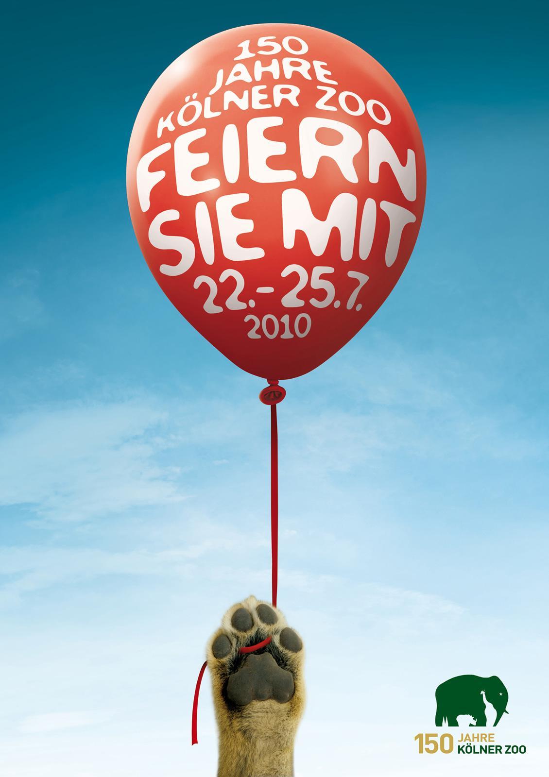Kölner Zoo Print Ad -  Ballons, Lion