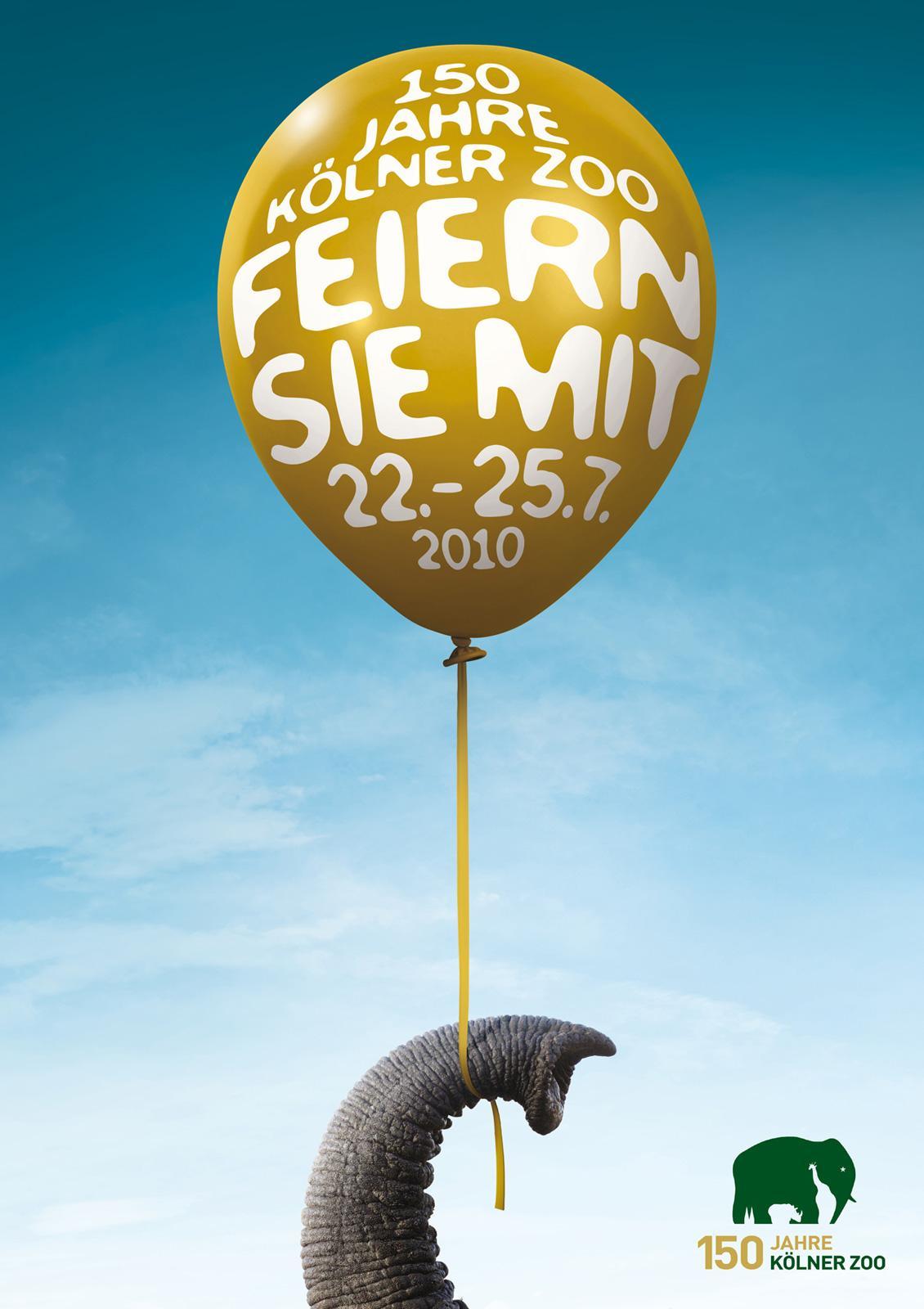 Kölner Zoo Print Ad -  Ballons, Elephant