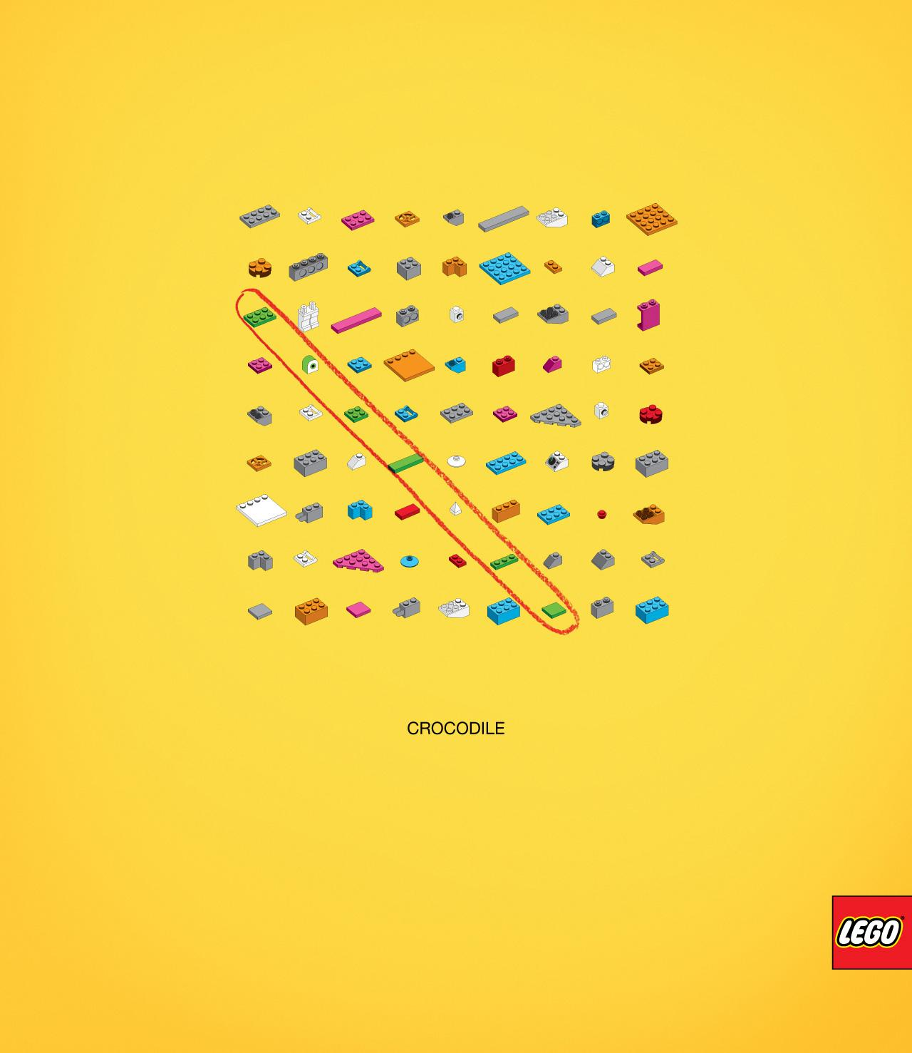 Lego Print Ad -  Words puzzle, Crocodile