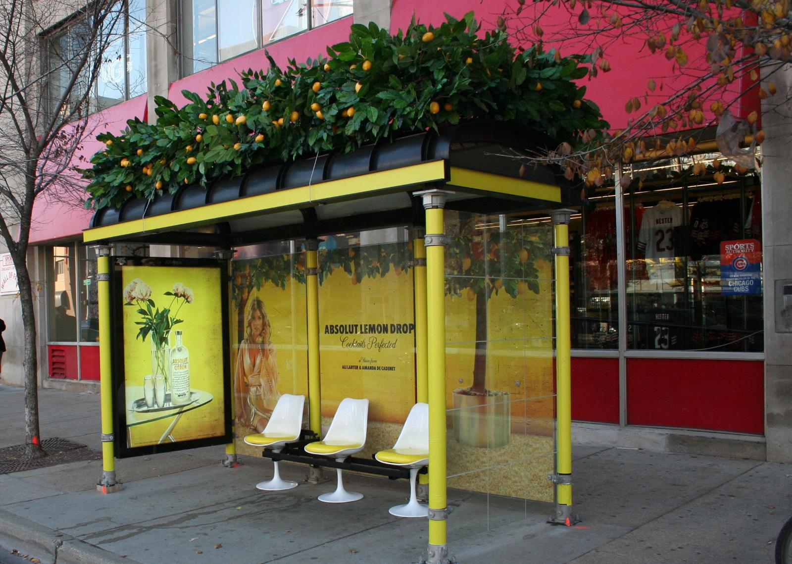 Absolut Outdoor Ad -  Lemon Drop bus stop