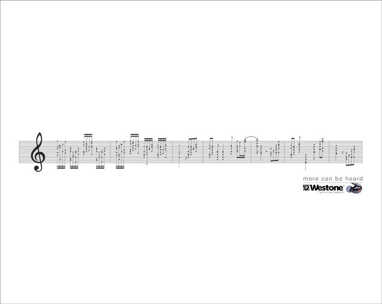 Westone Print Ad -  5 Line Staff, Details