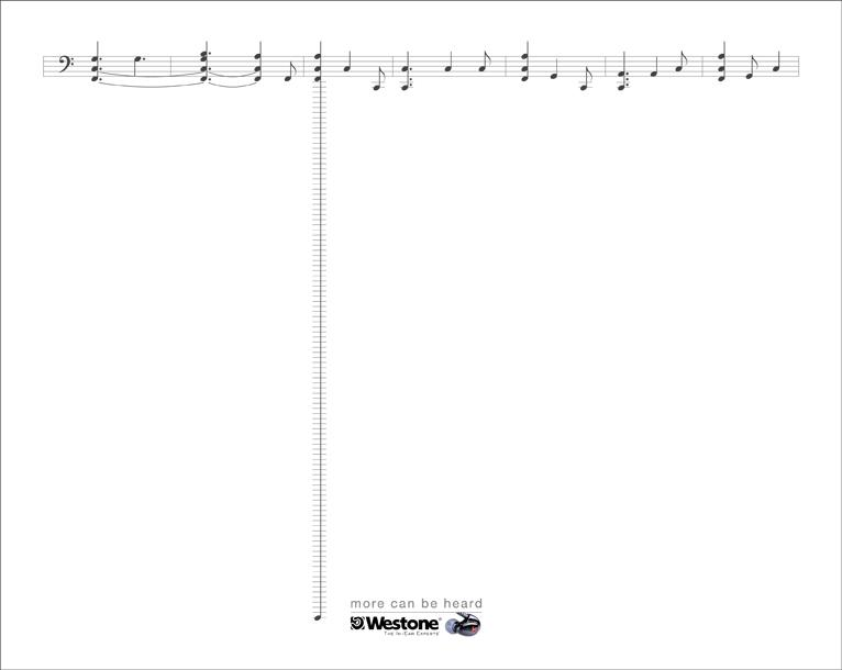 Westone Print Ad -  5 Line Staff, Low Key