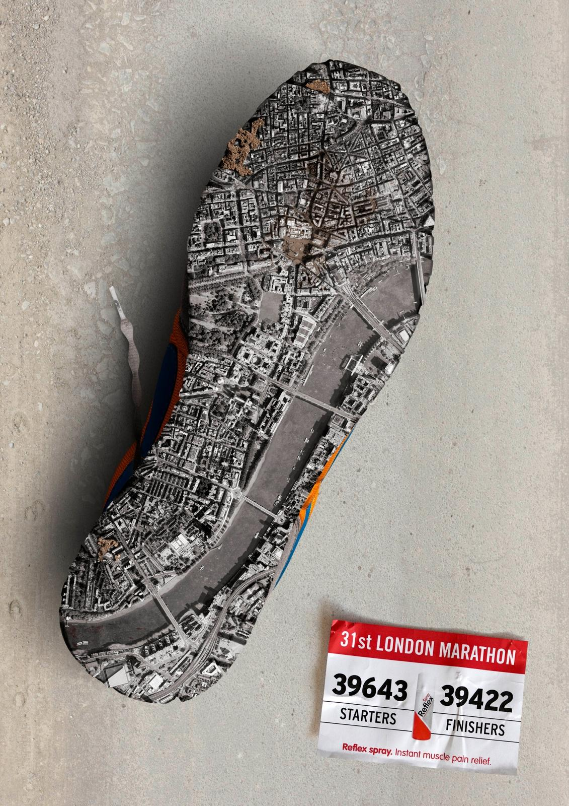 Reflex Spray Print Ad -  London Marathon