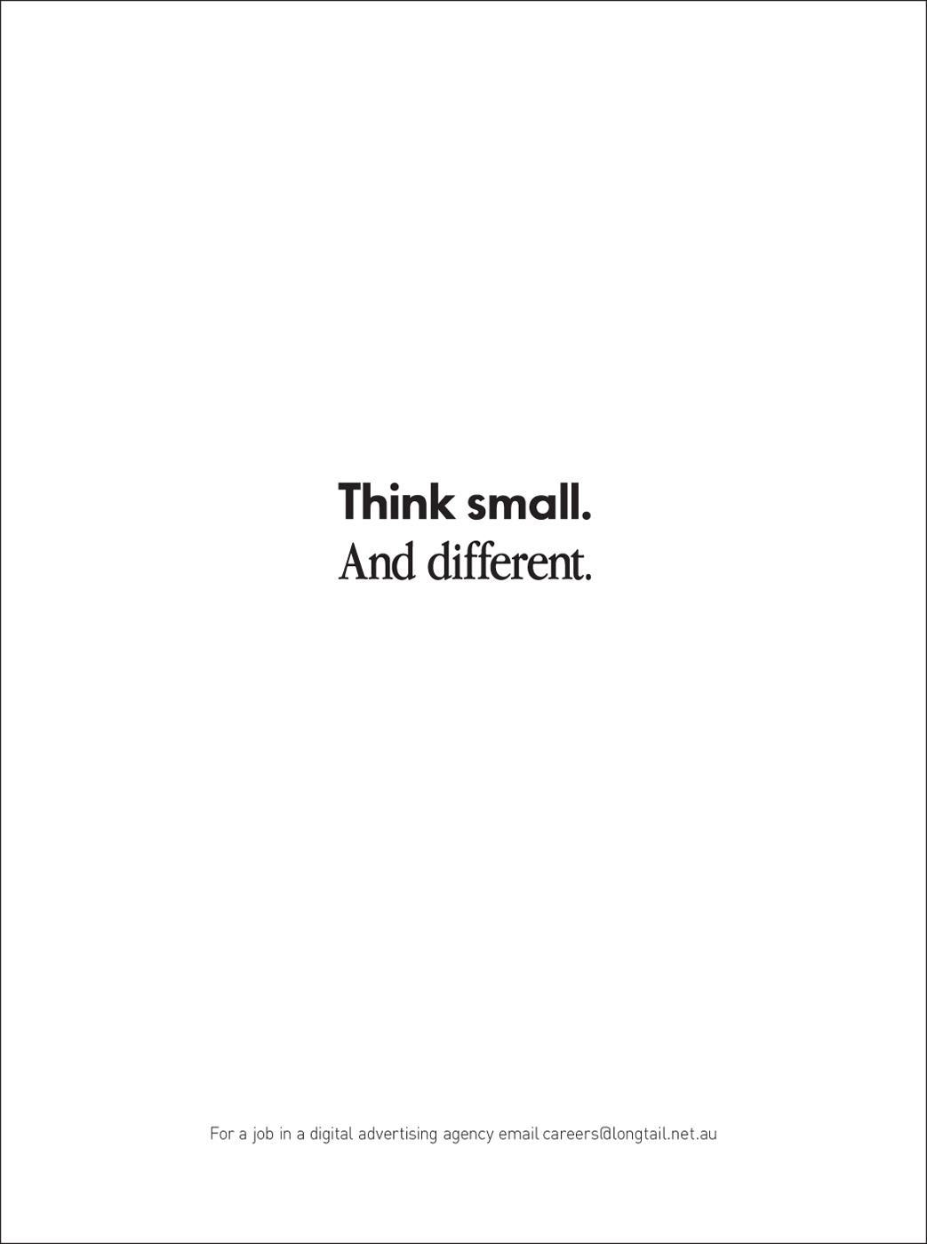 Longtail Communications Print Ad -  Think small