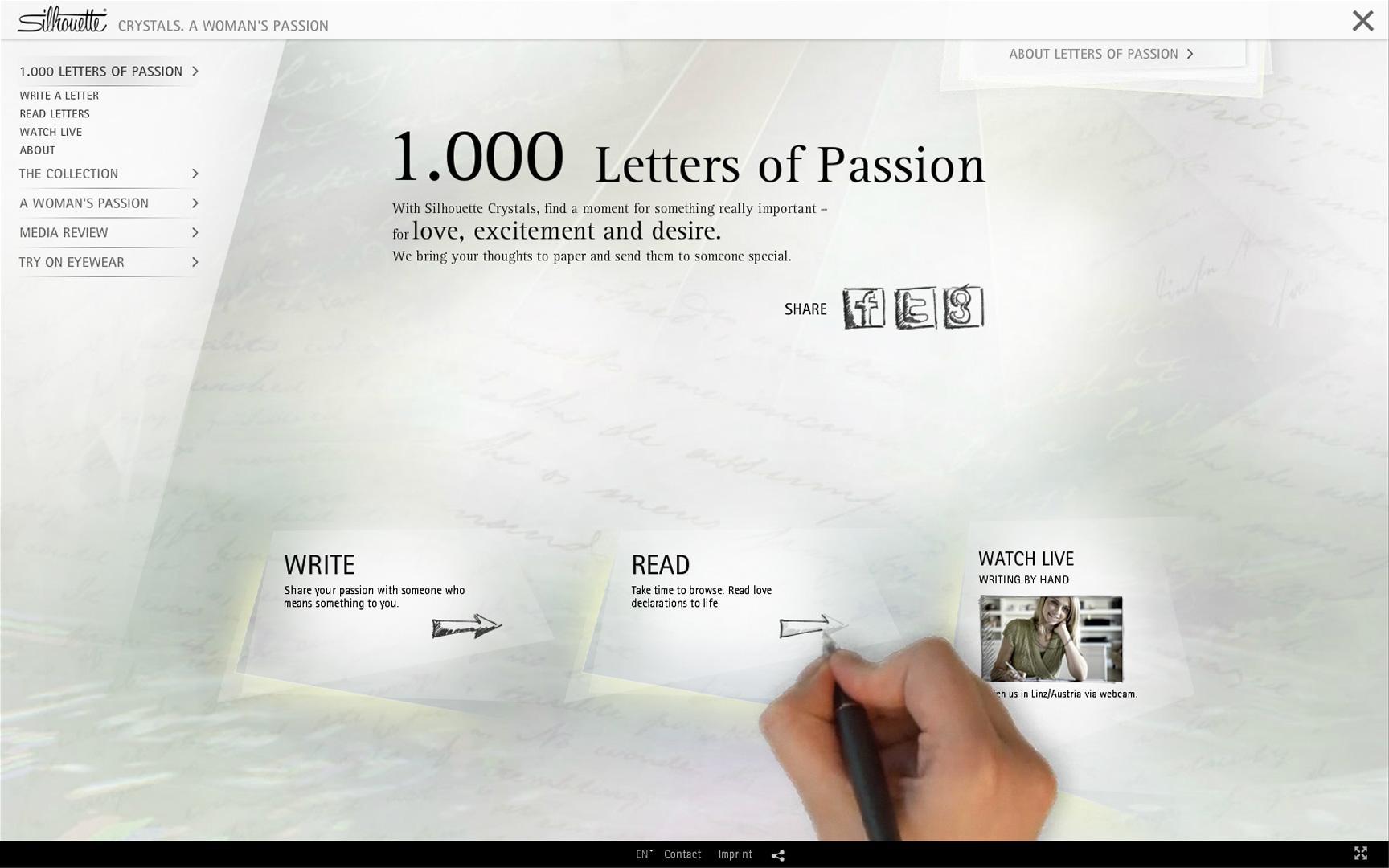 Silhouette International Eyewear Digital Ad -  1.000 Letters Of Passion