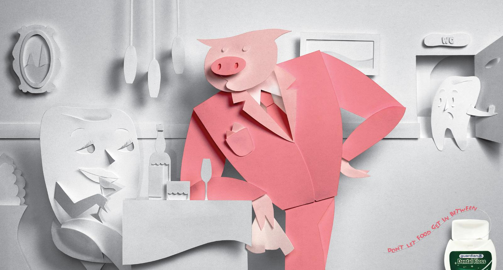 Guardian Dental Floss Print Ad -  Pig