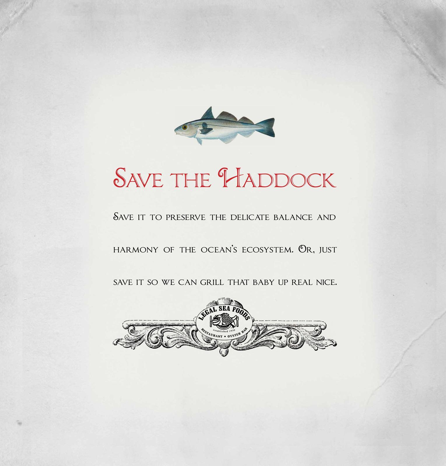 Legal Sea Foods Print Ad -  Save the Haddock