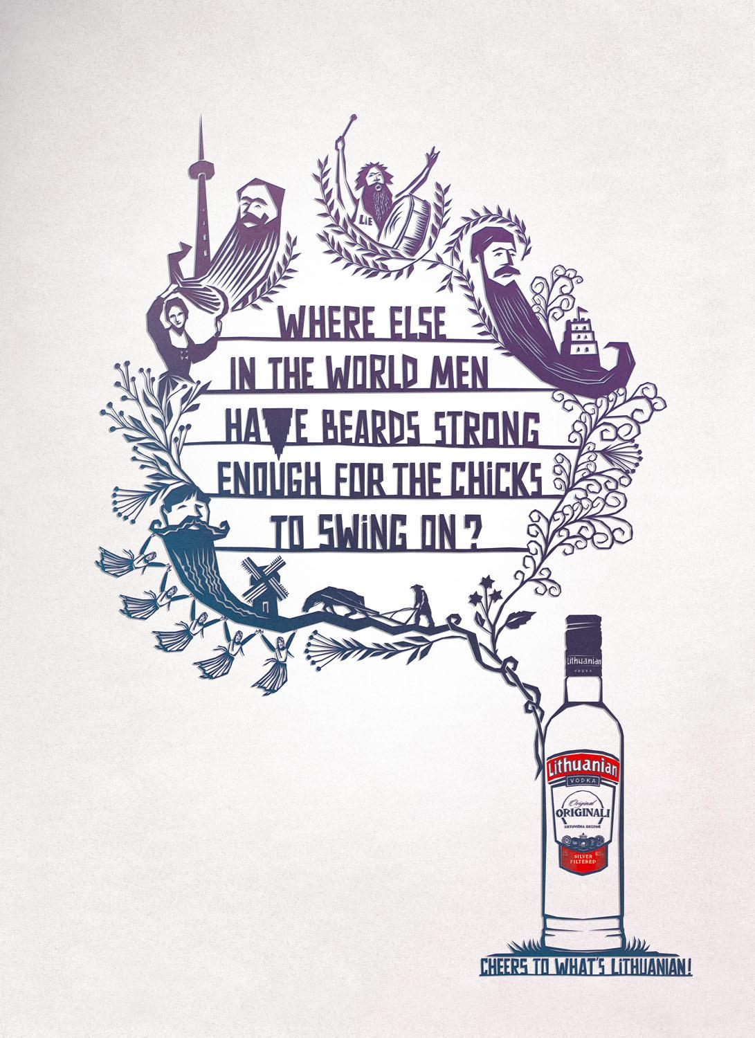 Lithuanian Vodka Print Ad -  Beards