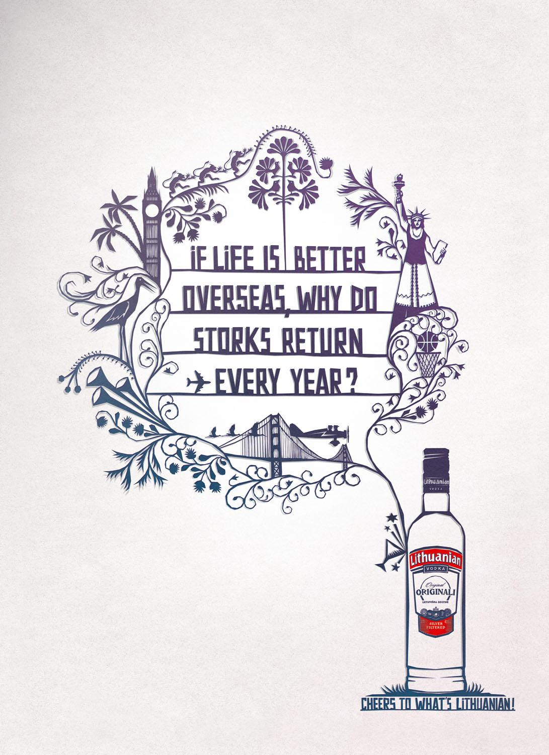 Lithuanian Vodka Print Ad -  Storks